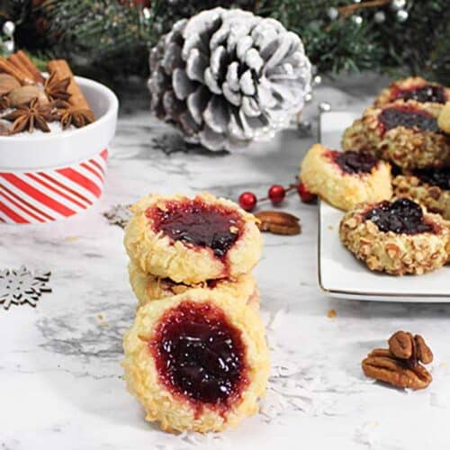 Cherry Jam Thumbprint Cookies square