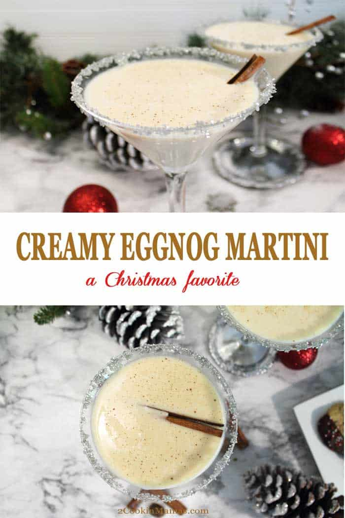 Creamy Eggnog Martini | 2 Cookin Mamas Celebrate the holidays with this creamy, decadently rich Eggnog Martini. Just 3 ingredients & a few pinches of spice will create the perfect cocktail for the Christmas season. #cocktail #eggnog #christmas #drink #recipe