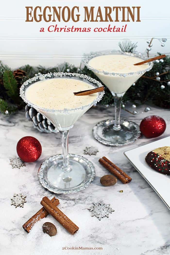 Celebrate the holidays with this creamy, decadently rich Eggnog Martini. Just 3 ingredients & a few pinches of spice will create the perfect cocktail for the Christmas season. Great for cold nights before the fireplace and holiday party punch bowls. #cocktail #eggnog #drink #christmas #recipe #holidaydrinks #vodka #amaretto #easy #party