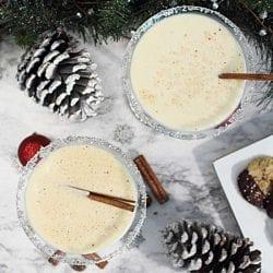 Creamy Eggnog Martini overhead square
