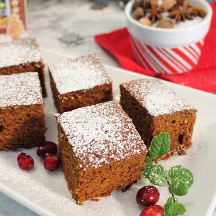 Homemade Spicy Gingerbread plated closeup square