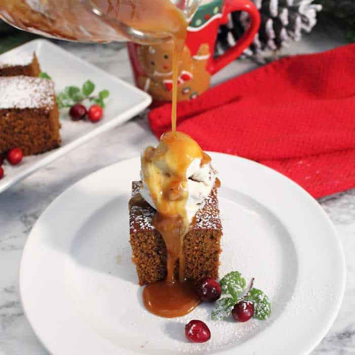 Homemade Spicy Gingerbread pouring caramel square