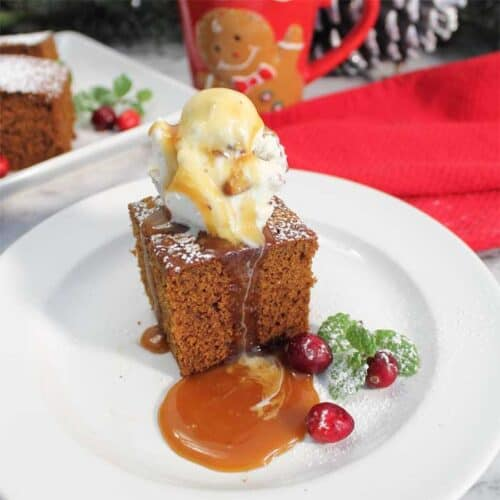 Homemade Spicy Gingerbread single with caramel square