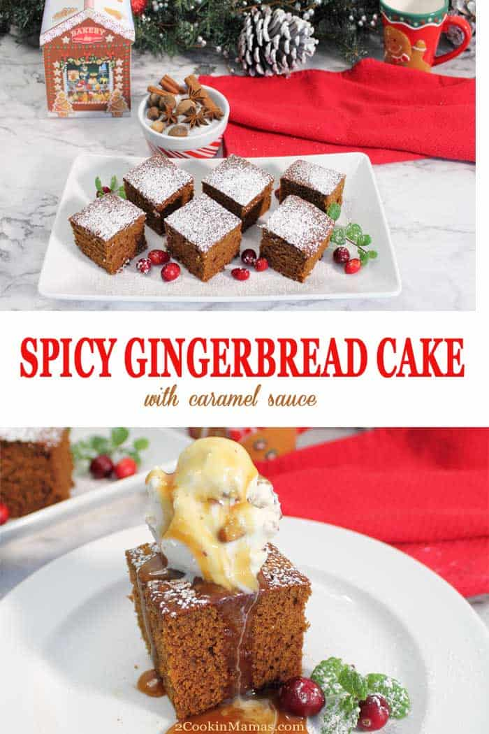 Spicy Homemade Gingerbread | 2 Cookin Mamas This Homemade Spicy Gingerbread is a quick and easy recipe that is full of rich molasses flavor & flavored with plenty of ginger & cinnamon. A perfect dessert for the holidays, served with a sprinkle of powdered sugar, a la mode or with homemade caramel or vanilla sauce. Maybe you can even sneak a piece or two for breakfast! #gingerbread #breakfastbread #quickbread #dessert #christmas #easyrecipe
