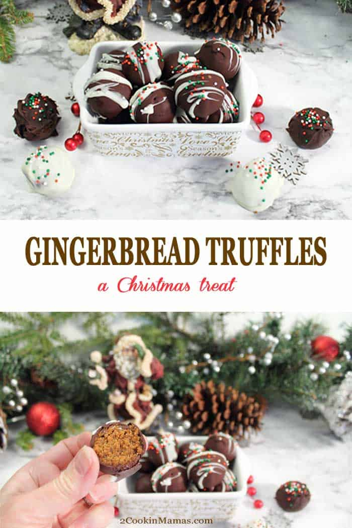 Gingerbread Truffles | 2 Cookin Mamas Gingerbread Truffles are spicy bite-sized confections, not really a candy and not really a cookie, made of baked gingerbread mixed with cream cheese frosting, then wrapped in a blanket of chocolate. A drool-worthy sweet treat for holiday entertaining. #gingerbread #truffles #chocolatetruffles #chocolate #christmas #recipe #christmasdessert #dessert