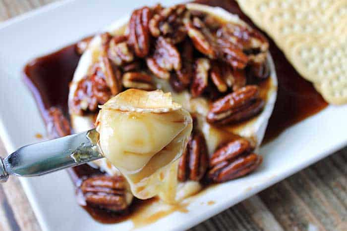 Kahlua Pecan Baked Brie scoop of creamy goodness