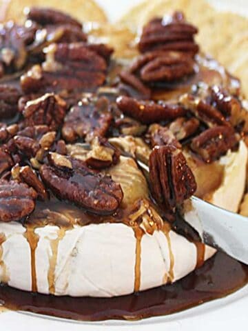 Kahlua Pecan Baked Brie square cutting