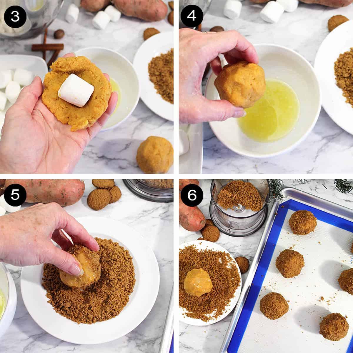Sweet Potato Puffs assembly steps 3-6.