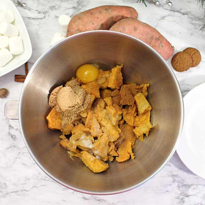 Sweet Potato Puffs making mashed sweet potatoes