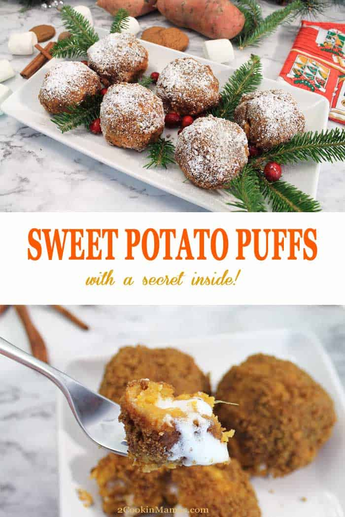 Sweet Potato Puffs | 2 Cookin Mamas These Sweet Potato Puffs are the perfect side for a holiday dinner. Whipped sweet potatoes are sweetened with brown sugar and flavored with spices, wrapped around a marshmallow then rolled in gingersnaps and baked. Guests get the perfect surprise when the puffs are cut and all the melted marshmallow oozes out all sweet and sticky. It's like an inside out sweet potato casserole! #sweetpotatoes #sidedish #recipe #marshmallows #gingersnaps #fall #thanksgiving #christmas