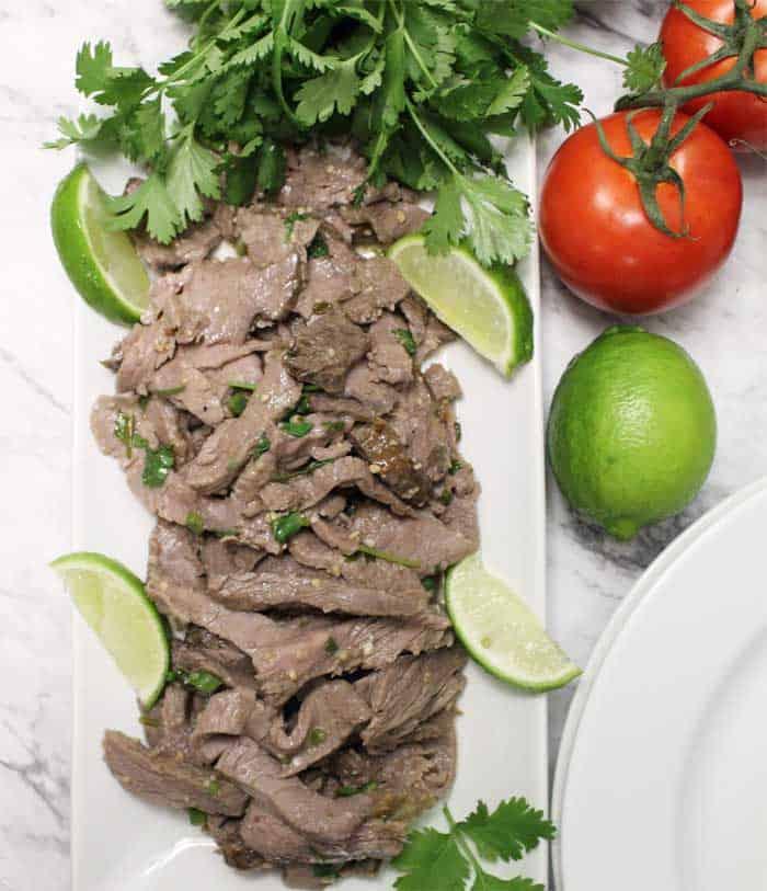 Carne Asada beef overhead