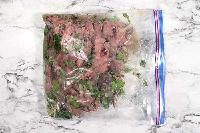 Carne Asada marinating beef
