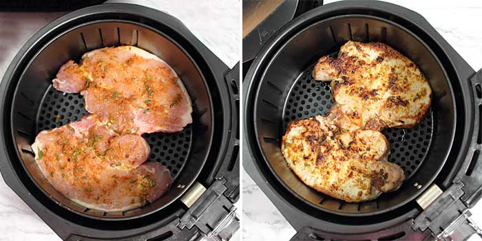 Before and after shot of Air Fried Pork Chops.