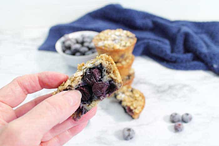 Blueberry Yogurt Oatmeal Muffins bite