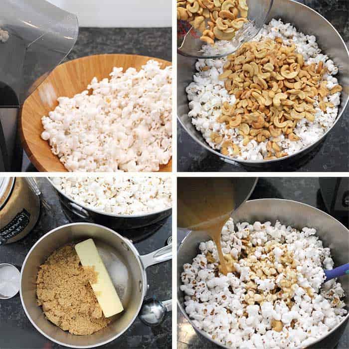 Caramel Cashew Popcorn steps