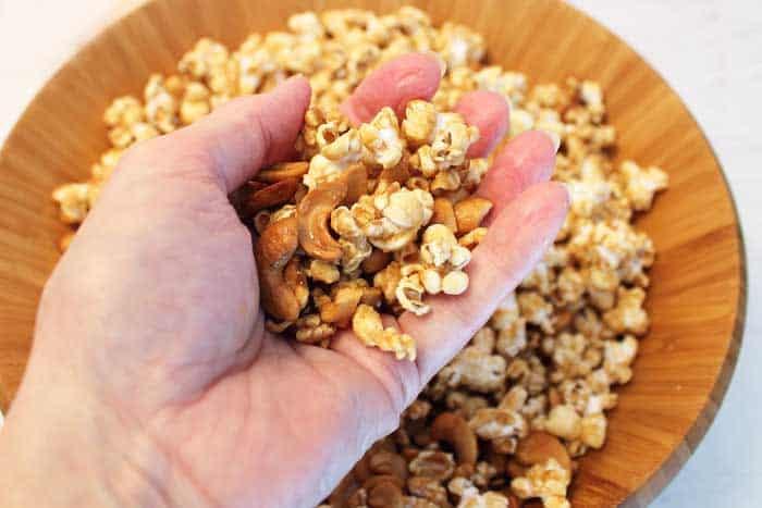 Caramel Cashew Popcorn not sticky