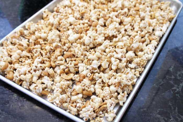 Caramel Cashew Popcorn ready to bake