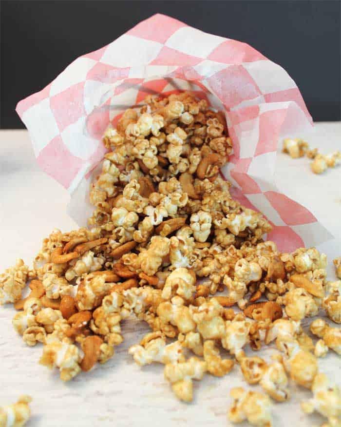 Caramel Cashew Popcorn spilling out
