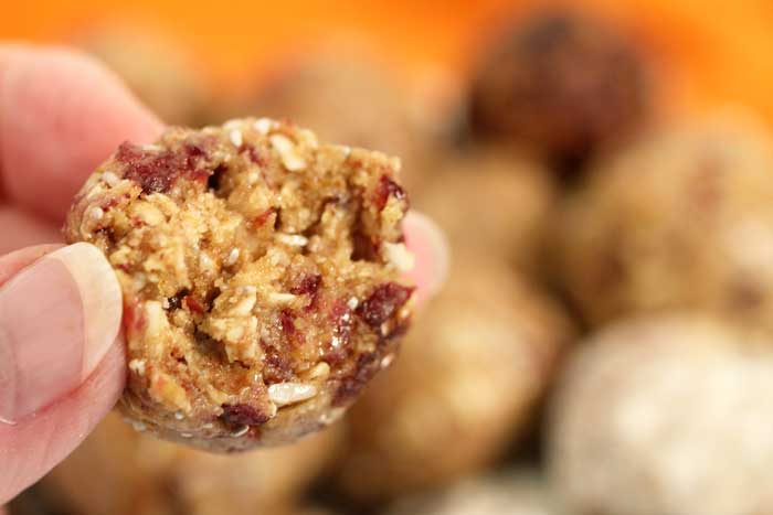 Cranberry Orange Energy Balls bite closeup