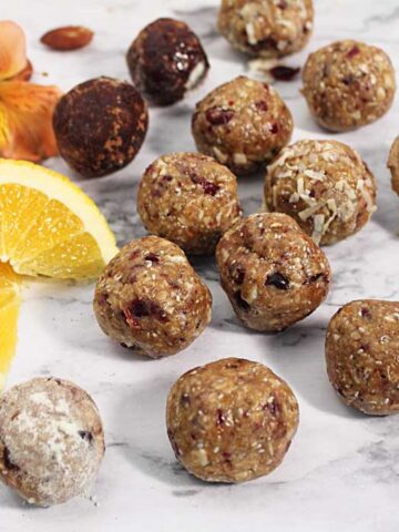 Cranberry Orange Energy balls scattered square