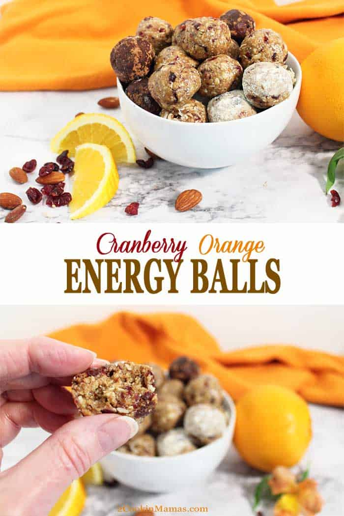 Cranberry Orange Energy Balls | 2 Cookin Mamas Cranberry Orange Energy Balls are filled with protein, fiber and antioxidants to refuel you after your workout or give you a quick on-the-go breakfast for rushed mornings. Packed with oats, almonds, cranberries, chia seeds, orange juice and almond butter, they're a tasty bite that's actually healthy. #snack #energyballs #healthy #nobake #protein #oats #lowcarb #almondbutter #recipe #cranberries #chiaseeds #almonds #glutenfree