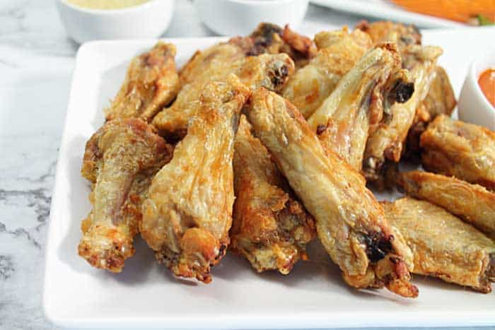 Crispy Air Fryer Chicken Wings plateful of crispy wings