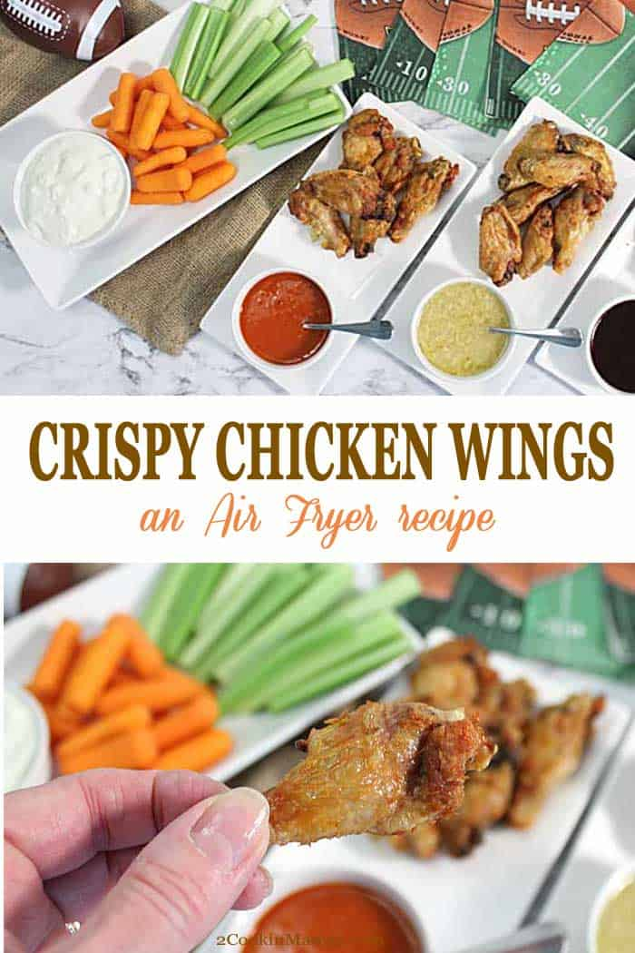 Crispy Air Fryer Chicken Wings | 2 Cookin Mamas Super Crispy Air Fryer Chicken Wings can't be beat! Healthier than deep-fat frying, these deliciously crispy air-fried wings have no breading and come out moist and flavorful. They're the perfect treat as a game-time appetizer or, cook a few more and, make them into a meal. #chickenwings #appetizer #airfryer #recipe #tailgating #dinner #quickandeasy