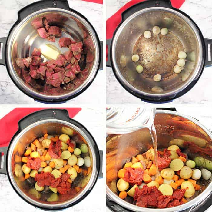 Instant Pot Greek Beef Stew Steps 1-4