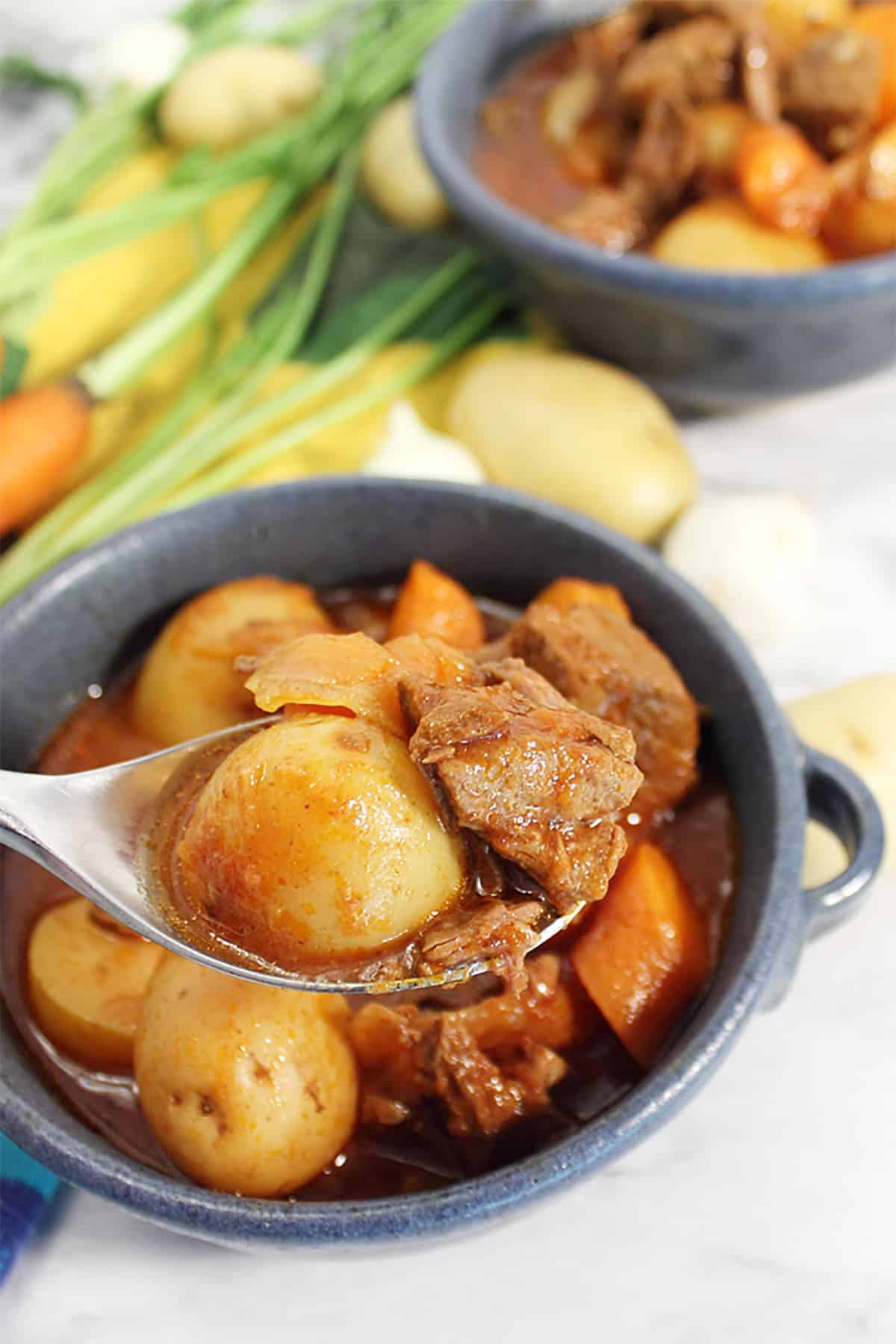 Spoonful of beef stew over serving.