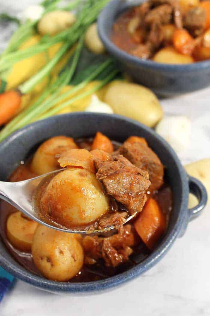 Instant Pot Greek Beef Stew bite tall | 2 Cookin Mamas Rich, hearty Instant Pot Greek Beef Stew is an easy comfort dinner for the cold days on winter. A mix of beef, potatoes, carrots and onions in a hearty tomato-based broth that's both healthy and delicious. No Instant Pot? No problem! Slow cooker & roasting option are described as well. #instantpot #stew #beefstew #beef #meat #potatoes #tomato #recipe #dinner #crockpot #slowcooker #comfortfood