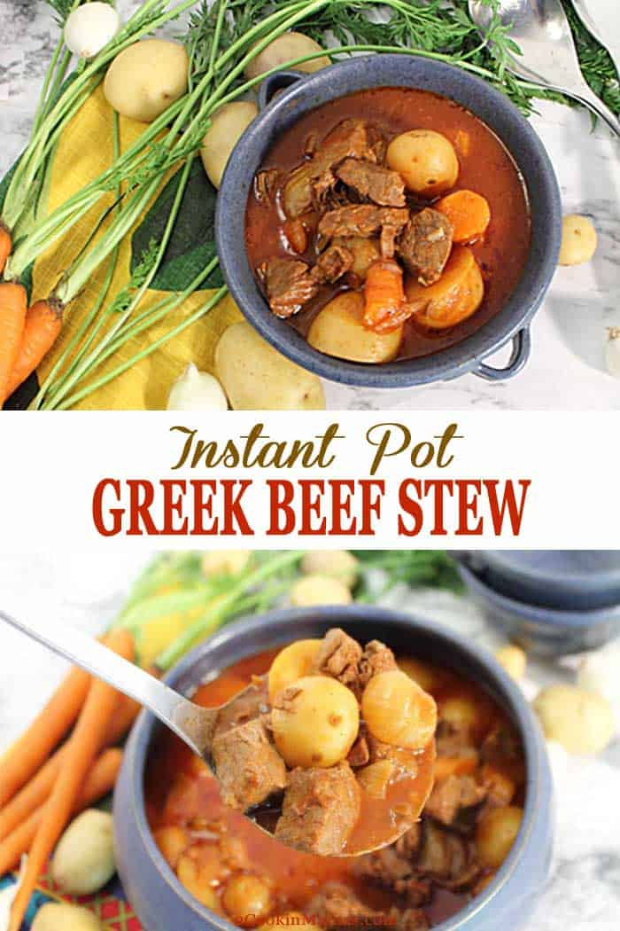 Instant Pot Greek Beef Stew | 2 Cookin Mamas Rich, hearty Instant Pot Greek Beef Stew is an easy comfort dinner for the cold days on winter. A mix of beef, potatoes, carrots and onions in a hearty tomato-based broth that's both healthy and delicious. No Instant Pot? No problem! Slow cooker & roasting option are described as well. #instantpot #stew #beefstew #beef #meat #potatoes #tomato #recipe #dinner #crockpot #slowcooker #comfortfood
