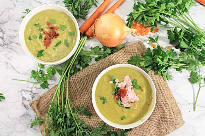 Instant Pot Split Pea Soup overhead with burlap