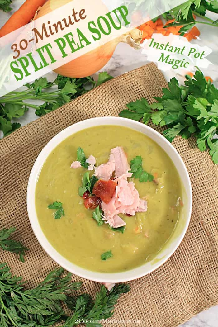 This Instant Pot Split Pea Soup is a rich, warming soup that can be on the dinner table in 30 minutes! It has a rich split pea base with a wonderful smoked ham flavor running through it. The additional ham, carrots and celery bring a bit more vitamins and minerals to the mix for a healthy, hearty, meal in a bowl. The perfect comfort food for keeping warm this winter. #peasoup #instantpot #soup #winter #30minutemeal #recipe #splitpeas #dinner #comfortfood