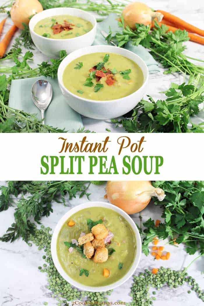 Instant Pot Split Pea Soup | 2 Cookin Mamas This Instant Pot Split Pea Soup is a rich, warming soup that can be on the dinner table in 30 minutes! It has a rich split pea base with a wonderful smoked ham flavor running through it. The additional ham, carrots and celery bring a bit more vitamins and minerals to the mix for a healthy, hearty, meal in a bowl. The perfect comfort food for keeping warm this winter. #peasoup #instantpot #soup #winter #30minutemeal #recipe #splitpeas #dinner #comfortfood