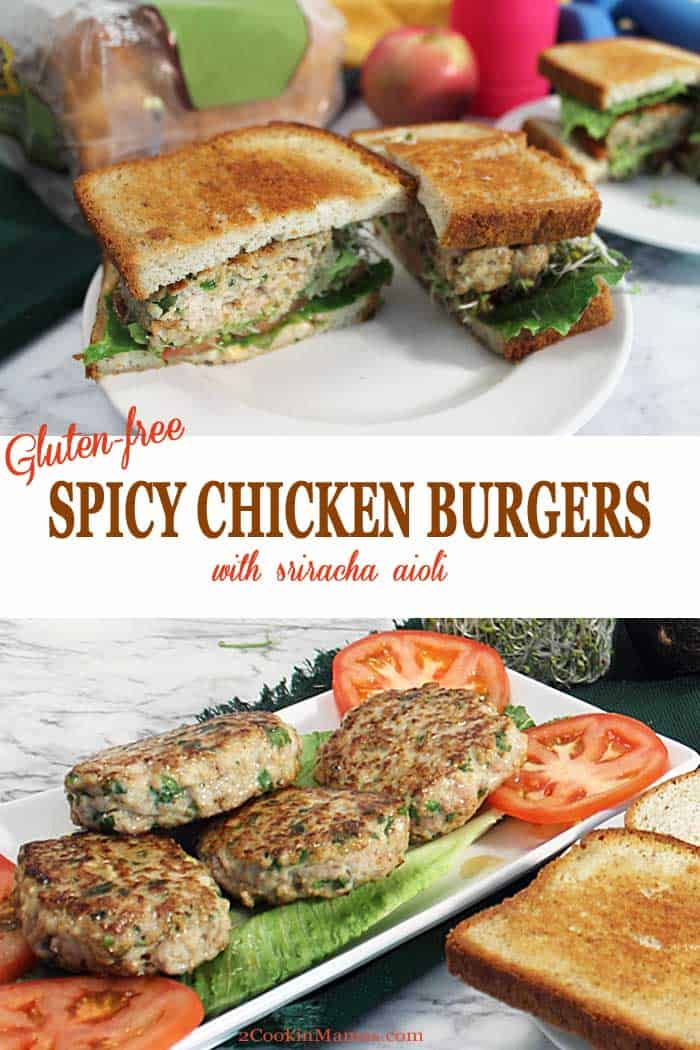 Spicy Chicken Burger with Sriracha Aioli | 2 Cookin Mamas A delicious and easy Spicy Chicken Burger with Sriracha Aioli that is both hearty and gluten free. A spicy Chicken Burger is nestled on slices of toasted gluten free bread then topped with avocado, sprouts and a creamy Sriracha aioli. Perfect for lunch or dinner. #ad #burger #chicken #chickenburger #glutenfree #health #aioli @udisglutenfree #sandwich #lunch #dinner #UdisGlutenFree