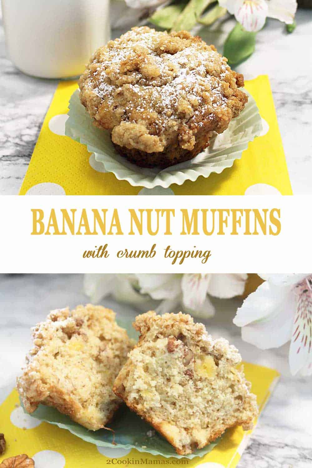 Banana Nut Muffins | 2 Cookin Mamas These amazingly moist and delicious banana muffins have tons of sweet banana flavor and a nice crunch from chopped pecans. Easy to make, complete with bakery-style muffins tops, and piled high with a crunchy crumb topping. Great for breakfast or snacks and on the table in just 30 minutes. #muffins #banana #withcrumbtopping #pecans #breakfast #snack #easy #recipe
