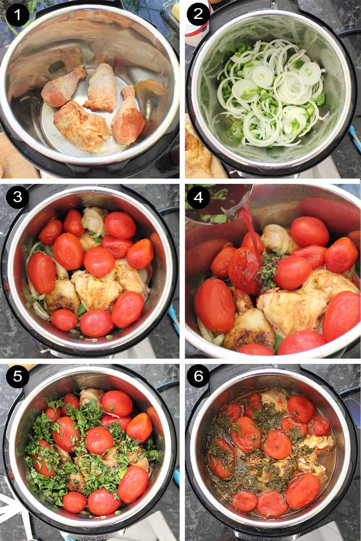 Prep steps 1-6 for cooking in instant pot.