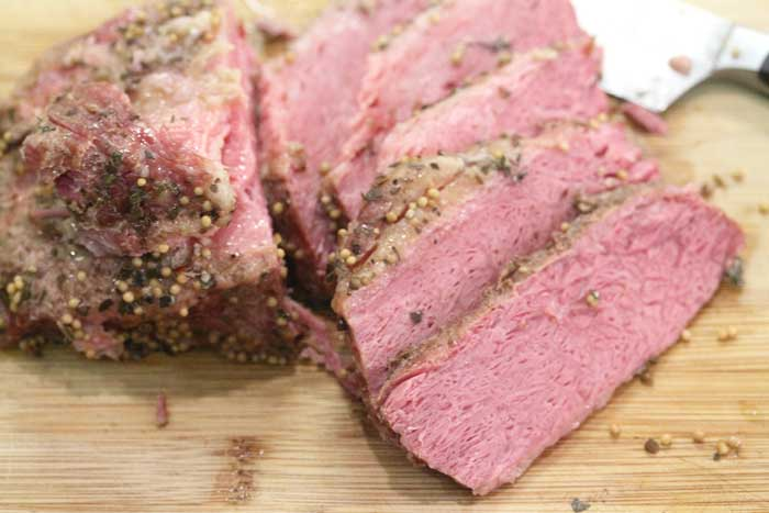 Corned Beef sliced closeup