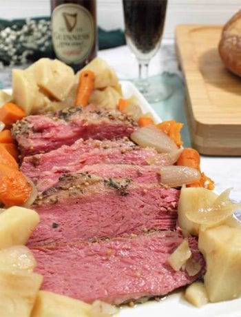 Corned Beef dinner with bread and beer square