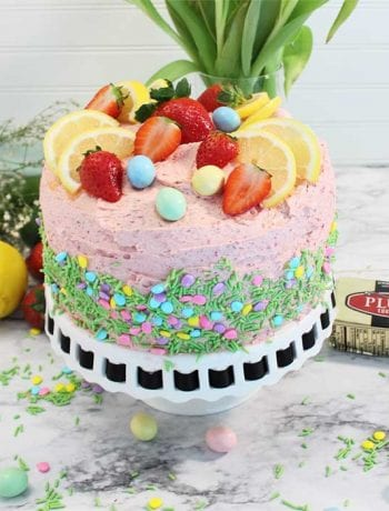 Easter Strawberry Lemon Cake with tulips square