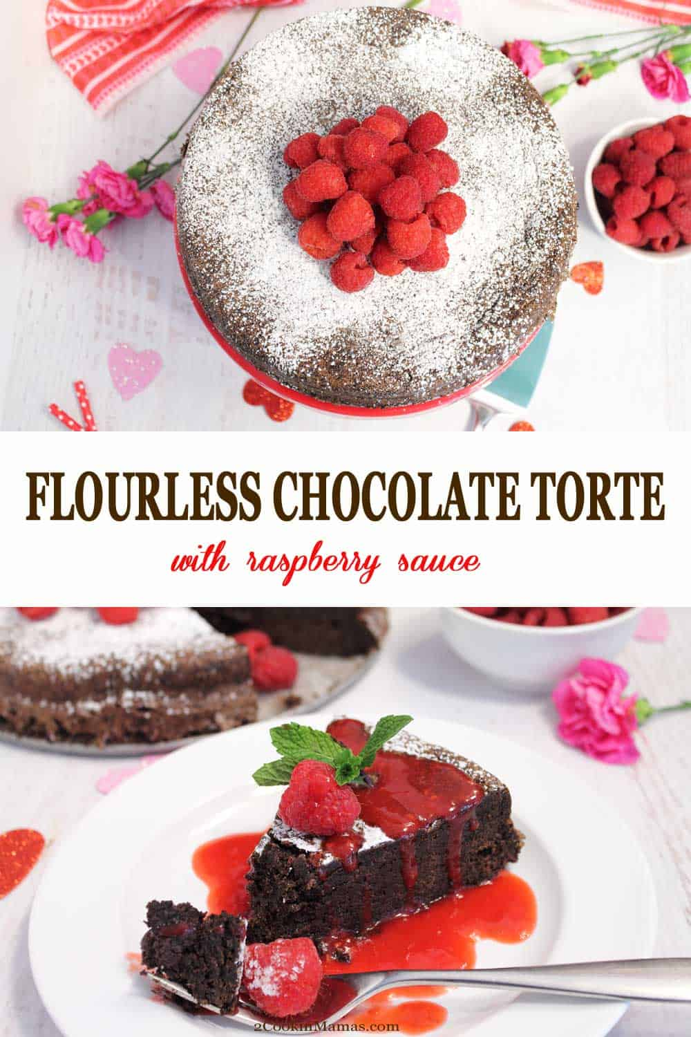 Flourless Chocolate Torte with Raspberry Sauce | 2 Cookin Mamas This Flourless Chocolate Torte is a rich, dense, velvety smooth cake that was made for chocolate lovers. It's easy to make, requires no flour, so it is naturally gluten-free, and tastes like fudge in cake form. Serve topped with raspberries or with a side of raspberry sauce. This torte makes the perfect Valentine's Day or special occasion dessert. #dessert #chocolate #chocolatetorte #ValentinesDay #easy #glutenfree #recipe #chocolatecake