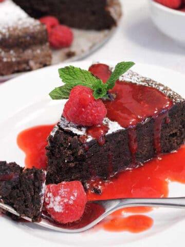Flourless Chocolate Torte with raspberry sauce square
