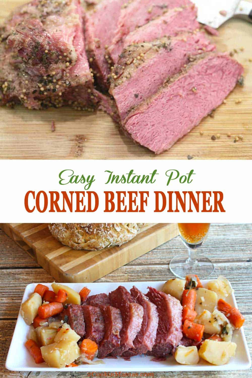Instant Pot Corned Beef Dinner with Beer | 2 Cookin Mamas This easy Instant Pot Corned Beef is moist, flavorful and sure to become a family dinner favorite. Corned beef is cooked in beef stock and dark beer then joined by potatoes, carrots and onions to make a tasty one pot meal. If the taste doesn't get you salivating, the aromas will! #cornedbeef #instantpot #dinner #stpatricksday #recipe #easy