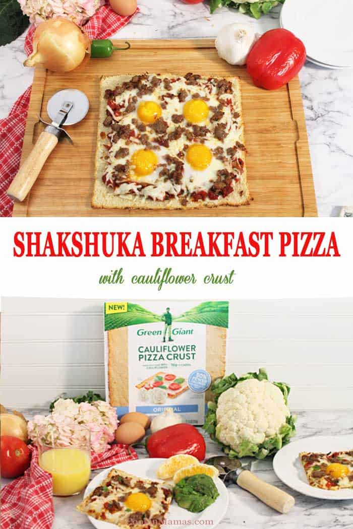 Shakshuka Breakfast Pizza | 2 Cookin Mamas Now you can have pizza for breakfast! This delicious low-carb Shakshuka Breakfast Pizza starts with a cauliflower crust and is topped with a spiced tomato and veggie sauce, sprinkled with sausage and cheese then topped with eggs. The perfect start to any day in about 30 minutes. Fits a vegetarian diet when a meat alternative is used. #ad #breakfast #recipe #sausage #cauliflowercrust #pizza #shakshuka #eggs #GreenGiant #GiantCauliSwap