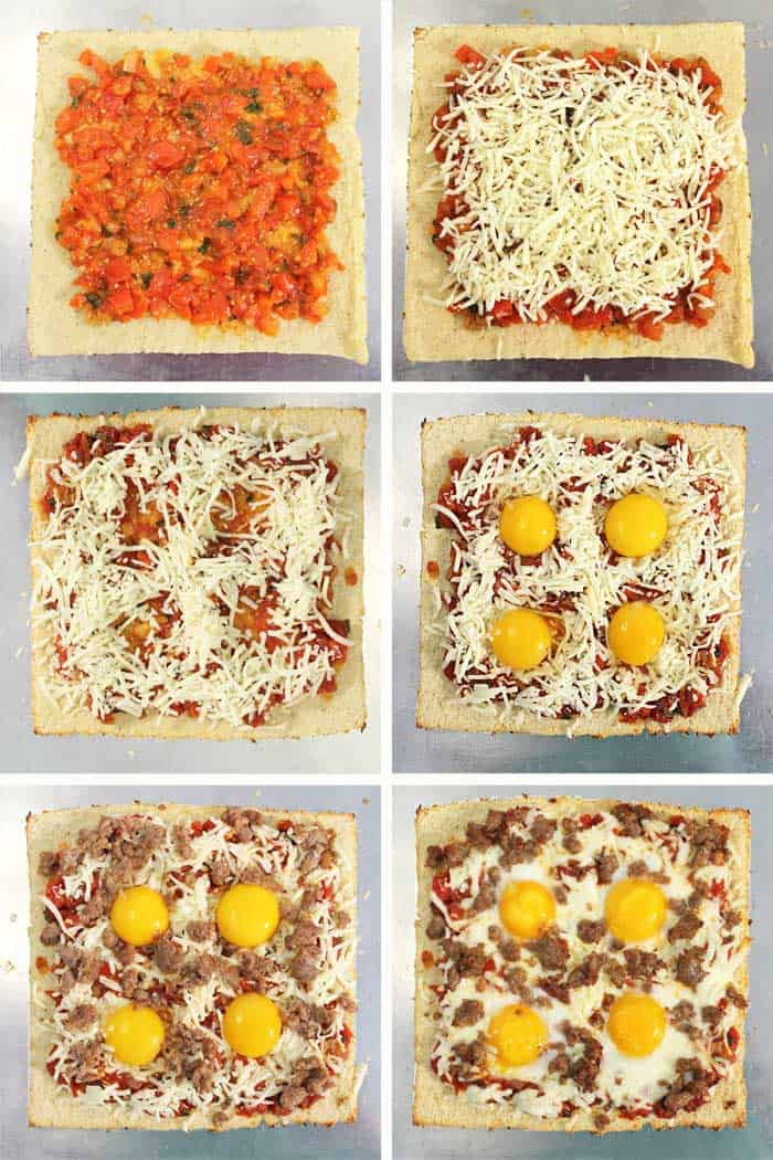 Shakshuka Breakfast Pizza assembly steps