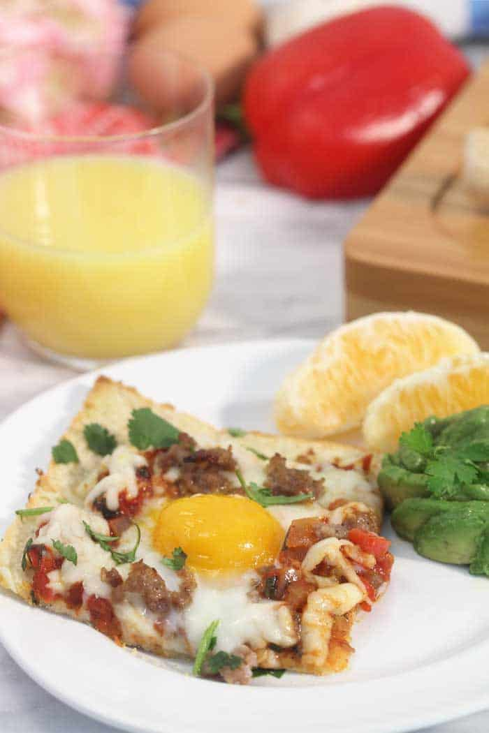 Shakshuka Breakfast Pizza slice tall