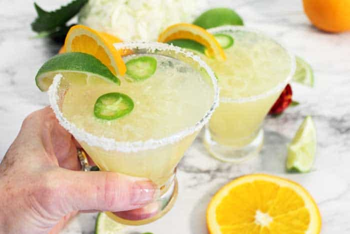 Spicy Sparkling Citrus Margarita cheers wide