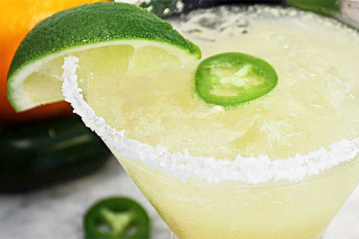 Spicy Sparkling Citrus Margarita closeup