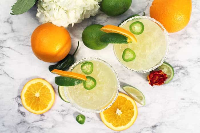 Spicy Sparkling Citrus Margarita overhead with jalapeno