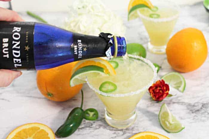 Spicy Sparkling Citrus Margarita adding sparkling wine